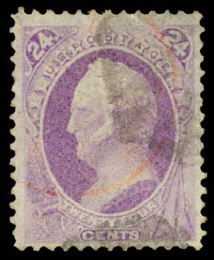 US Stamp Values Scott Cat. #153 - 24c 1870 Winfield Scott Without Grill. Daniel Kelleher Auctions, Aug 2015, Sale 672, Lot 2423