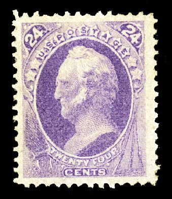 US Stamps Values Scott Catalog 153 - 24c 1870 Winfield Scott Without Grill. Cherrystone Auctions, Jul 2015, Sale 201507, Lot 2066