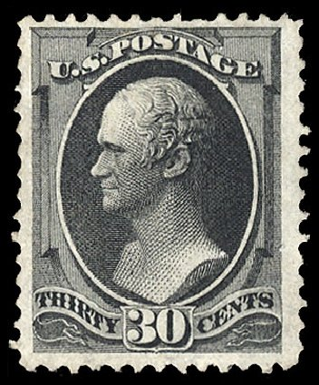 Value of US Stamp Scott Catalog 154 - 30c 1870 Hamilton Without Grill. Cherrystone Auctions, Jan 2015, Sale 201501, Lot 148