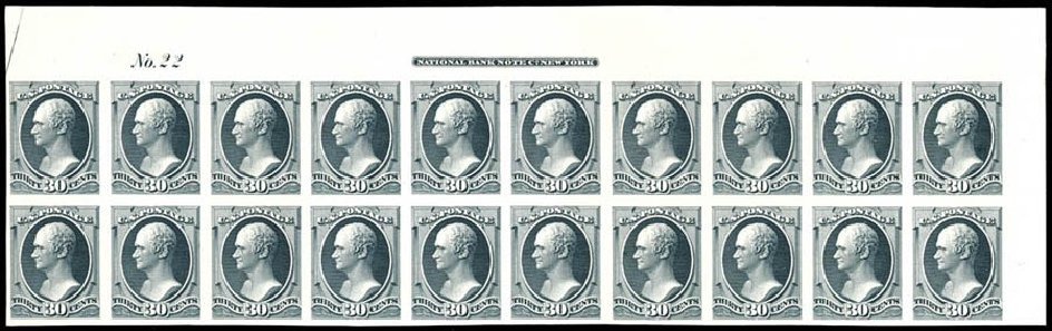 US Stamps Value Scott Catalogue # 154: 1870 30c Hamilton Without Grill. Schuyler J. Rumsey Philatelic Auctions, Apr 2015, Sale 60, Lot 2158