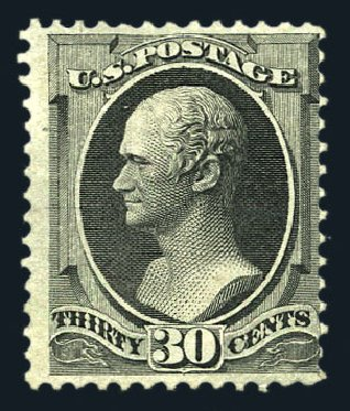 US Stamps Price Scott 154 - 30c 1870 Hamilton Without Grill. Harmer-Schau Auction Galleries, Aug 2015, Sale 106, Lot 1509