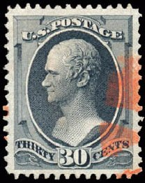 US Stamp Prices Scott Catalog #154 - 1870 30c Hamilton Without Grill. Schuyler J. Rumsey Philatelic Auctions, Apr 2015, Sale 60, Lot 2159