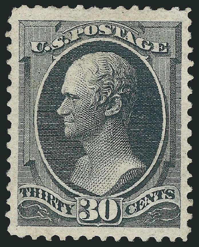 Values of US Stamps Scott Cat. # 154 - 1870 30c Hamilton Without Grill. Robert Siegel Auction Galleries, Jun 2015, Sale 1106, Lot 3125