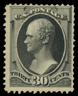 US Stamp Value Scott Catalog 154 - 30c 1870 Hamilton Without Grill. Daniel Kelleher Auctions, May 2015, Sale 669, Lot 2643