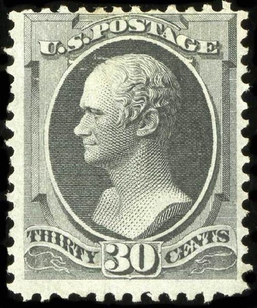 Costs of US Stamps Scott # 154 - 1870 30c Hamilton Without Grill. Spink Shreves Galleries, Jul 2015, Sale 151, Lot 146