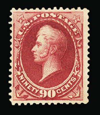 US Stamp Price Scott Catalog 155: 90c 1870 Perry Without Grill. Cherrystone Auctions, Jul 2015, Sale 201507, Lot 2068