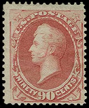 US Stamps Prices Scott #155 - 90c 1870 Perry Without Grill. H.R. Harmer, Jun 2015, Sale 3007, Lot 3216