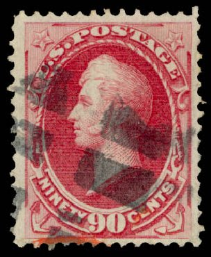 US Stamps Values Scott 155: 90c 1870 Perry Without Grill. Daniel Kelleher Auctions, Aug 2015, Sale 672, Lot 2426