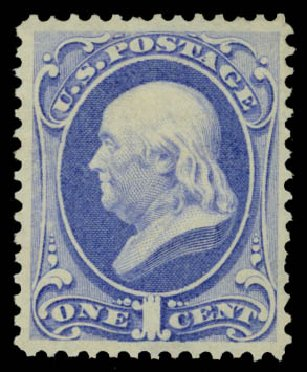 Values of US Stamp Scott Catalog 156 - 1c 1873 Franklin Continental. Daniel Kelleher Auctions, May 2015, Sale 669, Lot 2647