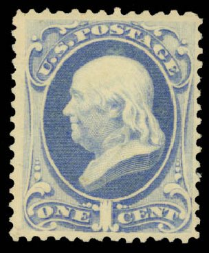 Prices of US Stamp Scott Catalog 156 - 1873 1c Franklin Continental. Daniel Kelleher Auctions, May 2015, Sale 669, Lot 2648