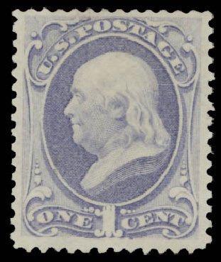Values of US Stamp Scott Catalogue # 156 - 1873 1c Franklin Continental. Daniel Kelleher Auctions, Aug 2015, Sale 672, Lot 2428