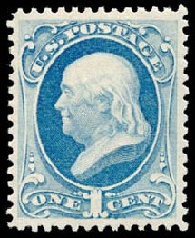 US Stamps Values Scott Cat. # 156: 1873 1c Franklin Continental. Schuyler J. Rumsey Philatelic Auctions, Apr 2015, Sale 60, Lot 2160