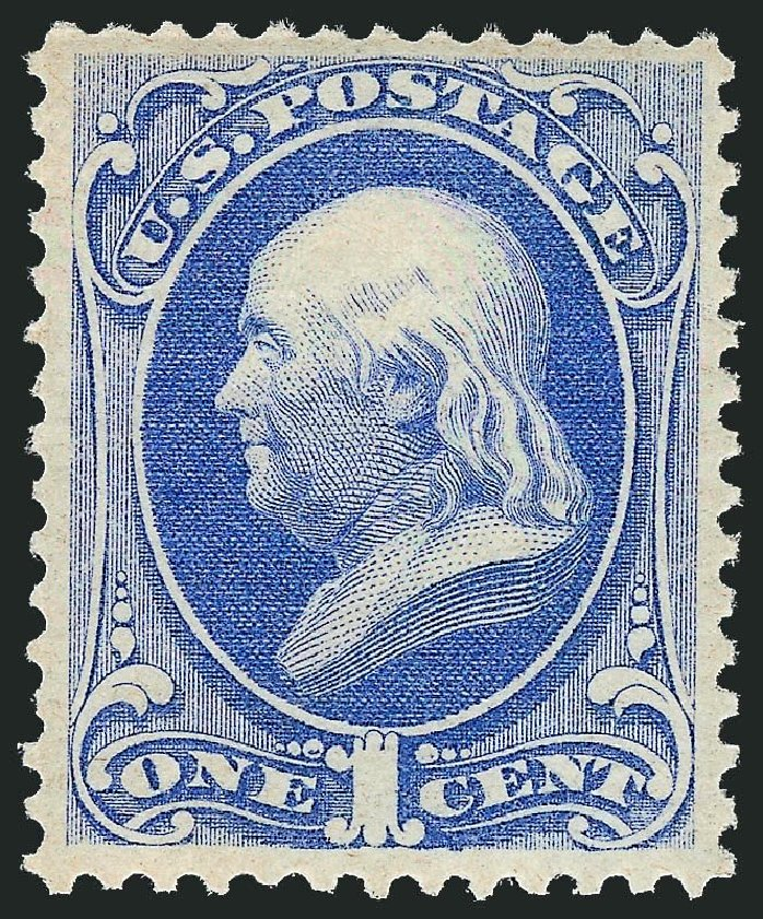 US Stamps Value Scott #156: 1873 1c Franklin Continental. Robert Siegel Auction Galleries, Dec 2014, Sale 1090, Lot 1325