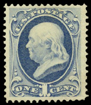 Cost of US Stamps Scott #156 - 1873 1c Franklin Continental. Daniel Kelleher Auctions, May 2015, Sale 669, Lot 2646