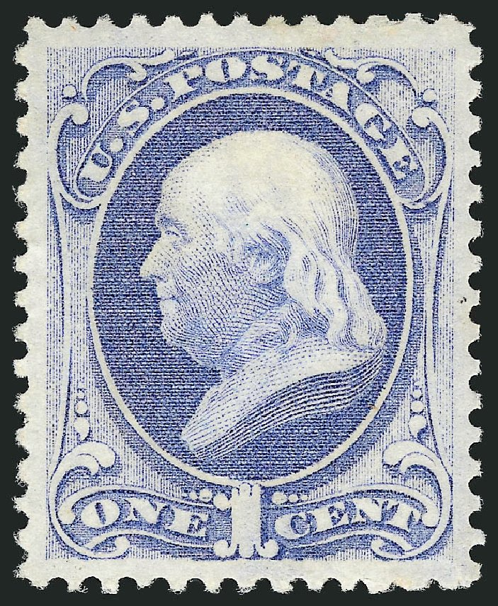 US Stamps Value Scott Catalog 156 - 1873 1c Franklin Continental. Robert Siegel Auction Galleries, Apr 2015, Sale 1096, Lot 296