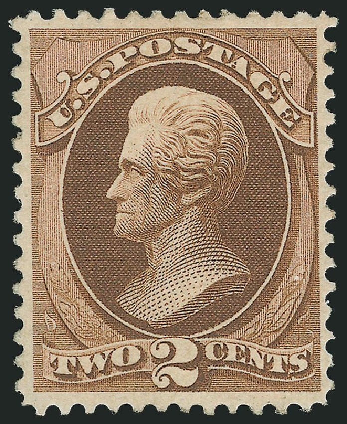 Values of US Stamp Scott Catalog 157 - 1873 2c Jackson Continental. Robert Siegel Auction Galleries, Apr 2014, Sale 1068, Lot 147