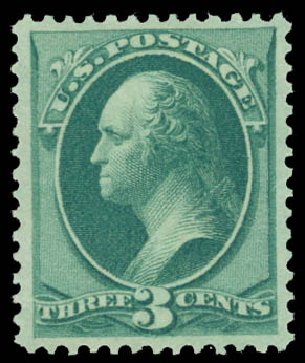 US Stamp Value Scott Catalog 158: 1873 3c Washington Continental. Daniel Kelleher Auctions, Jan 2015, Sale 663, Lot 1398