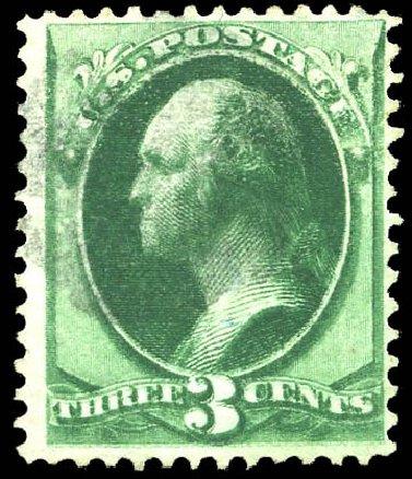 US Stamp Price Scott Cat. #158 - 1873 3c Washington Continental. Matthew Bennett International, Feb 2015, Sale 351, Lot 123