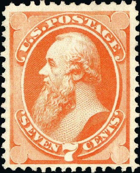 Value of US Stamp Scott Catalog 160: 7c 1873 Stanton Continental. Spink Shreves Galleries, Jan 2015, Sale 150, Lot 107