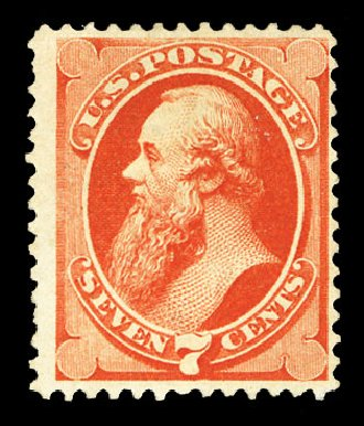 US Stamp Prices Scott Catalogue 160 - 1873 7c Stanton Continental. Cherrystone Auctions, Jul 2015, Sale 201507, Lot 2069