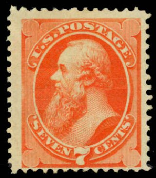 Price of US Stamp Scott Catalog #160 - 7c 1873 Stanton Continental. Daniel Kelleher Auctions, Jan 2015, Sale 663, Lot 1400