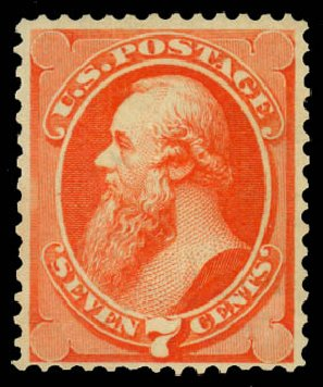 US Stamp Values Scott Catalogue #160: 7c 1873 Stanton Continental. Daniel Kelleher Auctions, Jan 2015, Sale 663, Lot 1401