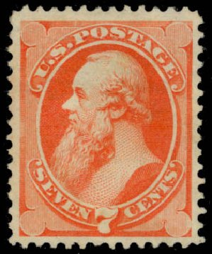 US Stamp Value Scott Catalog #160 - 7c 1873 Stanton Continental. Daniel Kelleher Auctions, Jan 2015, Sale 663, Lot 1402