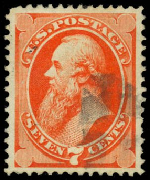 US Stamps Price Scott Cat. 160: 7c 1873 Stanton Continental. Daniel Kelleher Auctions, Jan 2015, Sale 663, Lot 1403