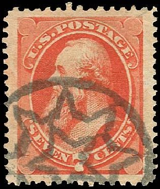 US Stamps Price Scott Catalogue 160: 1873 7c Stanton Continental. Regency-Superior, Nov 2014, Sale 108, Lot 343