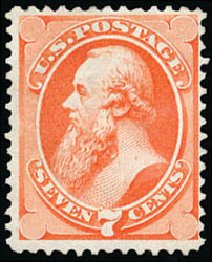 US Stamps Prices Scott Cat. # 160: 7c 1873 Stanton Continental. Schuyler J. Rumsey Philatelic Auctions, Apr 2015, Sale 60, Lot 2166