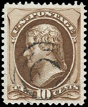 Values of US Stamp Scott Cat. # 161 - 10c 1873 Jefferson Continental. Regency-Superior, Jan 2015, Sale 109, Lot 819