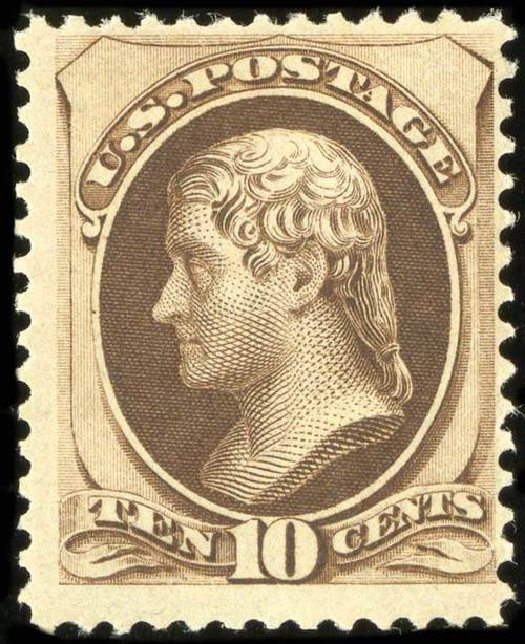 Values of US Stamp Scott Cat. 161: 1873 10c Jefferson Continental. Spink Shreves Galleries, Jul 2015, Sale 151, Lot 150