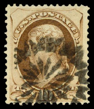 US Stamp Price Scott #161: 10c 1873 Jefferson Continental. Daniel Kelleher Auctions, Aug 2015, Sale 672, Lot 2431