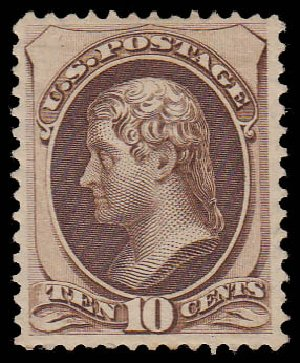 US Stamp Price Scott 161 - 1873 10c Jefferson Continental. Daniel Kelleher Auctions, Jan 2015, Sale 663, Lot 1405