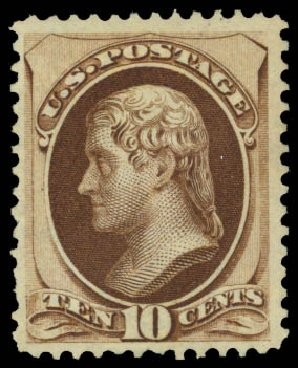Values of US Stamps Scott Catalog 161 - 10c 1873 Jefferson Continental. Daniel Kelleher Auctions, May 2015, Sale 669, Lot 2652