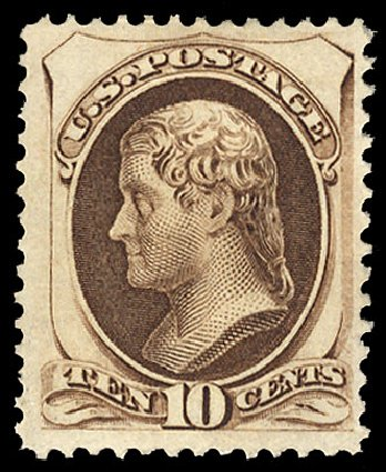 Price of US Stamps Scott 161 - 1873 10c Jefferson Continental. Cherrystone Auctions, May 2015, Sale 201505, Lot 26
