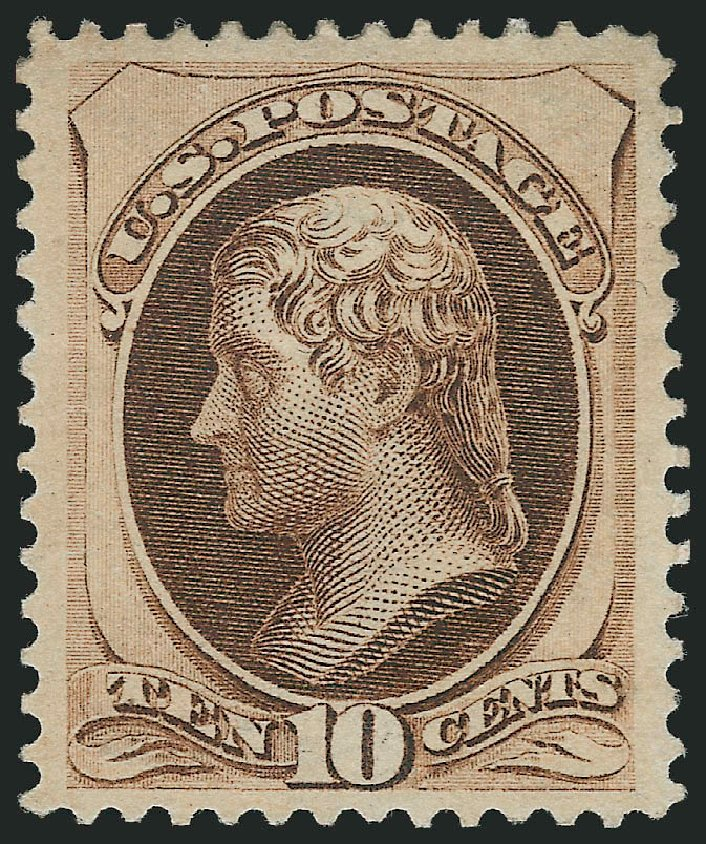 US Stamps Price Scott Cat. #161 - 1873 10c Jefferson Continental. Robert Siegel Auction Galleries, Jun 2015, Sale 1106, Lot 3126