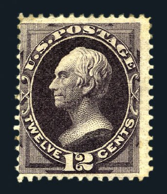 US Stamp Value Scott Cat. 162 - 1873 12c Clay Continental. Harmer-Schau Auction Galleries, Aug 2015, Sale 106, Lot 1519