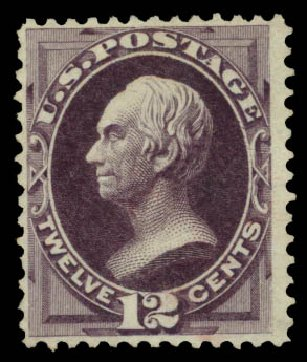 US Stamps Values Scott Cat. # 162 - 12c 1873 Clay Continental. Daniel Kelleher Auctions, May 2015, Sale 669, Lot 2654