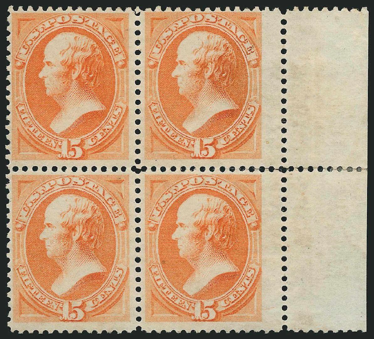 Cost of US Stamps Scott Cat. # 163 - 15c 1873 Webster Continental. Robert Siegel Auction Galleries, Nov 2014, Sale 1084, Lot 3431