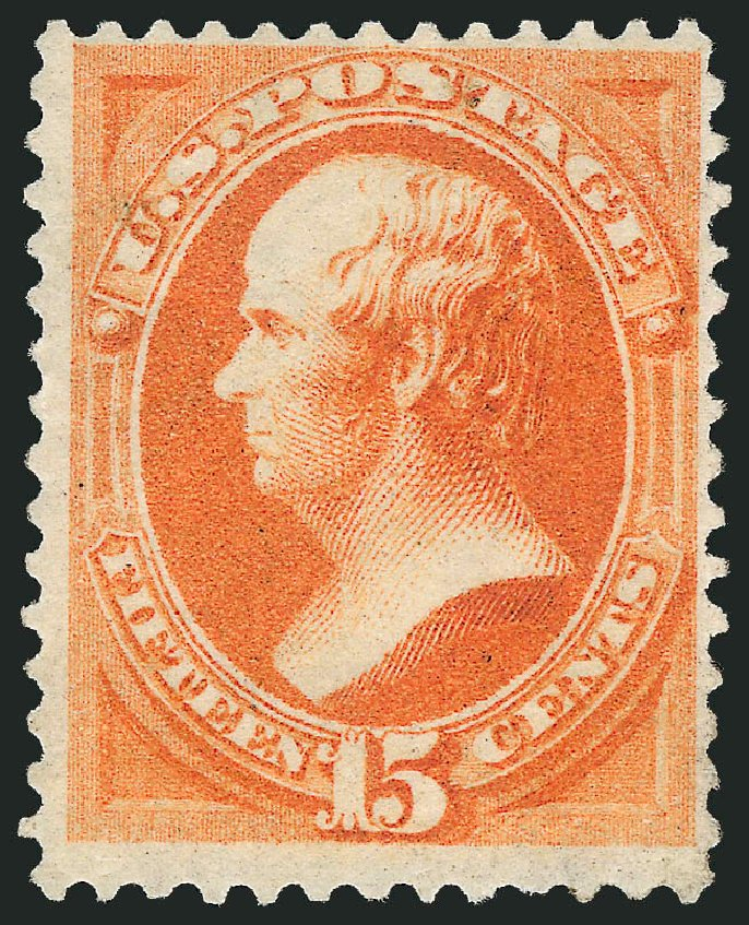 US Stamp Prices Scott Catalog 163 - 15c 1873 Webster Continental. Robert Siegel Auction Galleries, Jun 2015, Sale 1100, Lot 34