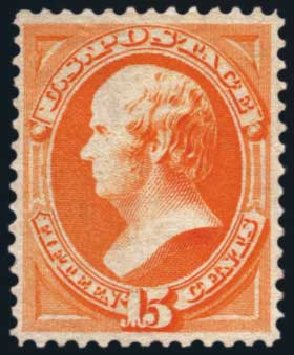 US Stamp Value Scott Catalog 163: 15c 1873 Webster Continental. Harmer-Schau Auction Galleries, Aug 2014, Sale 102, Lot 1802