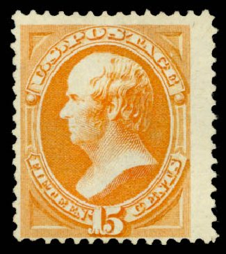 US Stamps Value Scott Catalog # 163 - 1873 15c Webster Continental. Daniel Kelleher Auctions, May 2015, Sale 669, Lot 2656