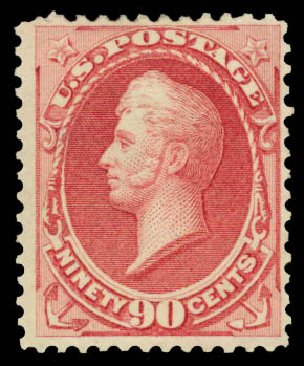 Value of US Stamp Scott Catalogue 166 - 1873 90c Perry Continental. Daniel Kelleher Auctions, Aug 2015, Sale 672, Lot 2438