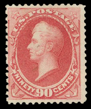 Values of US Stamps Scott Catalog #166 - 90c 1873 Perry Continental. Daniel Kelleher Auctions, May 2015, Sale 669, Lot 2661