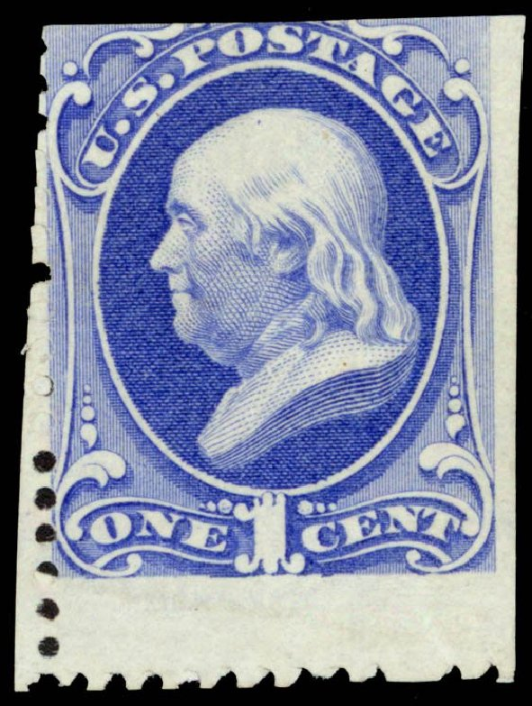 US Stamp Price Scott Catalog #167: 1c 1875 Franklin Special Printing. Daniel Kelleher Auctions, Sep 2013, Sale 639, Lot 3280