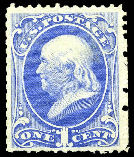 US Stamps Values Scott # 167: 1c 1875 Franklin Special Printing. Matthew Bennett International, May 2014, Sale 350, Lot 284