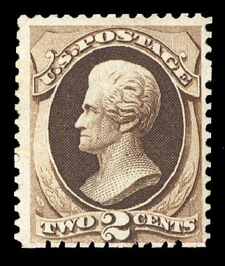 Value of US Stamps Scott Cat. #168 - 1875 2c Jackson Special Printing. Cherrystone Auctions, Sep 2014, Sale 201409, Lot 25