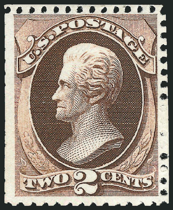 US Stamp Price Scott #168: 1875 2c Jackson Special Printing. Robert Siegel Auction Galleries, Apr 2010, Sale 984, Lot 492