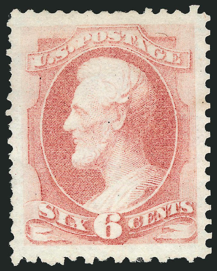 US Stamp Values Scott Catalog 170: 6c 1875 Lincoln Special Printing. Robert Siegel Auction Galleries, Apr 2015, Sale 1096, Lot 315